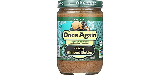 Once Again Lightly Toasted Almond Butter - Decadent 'Golden' Toasted Organic Almond Nut Butter
