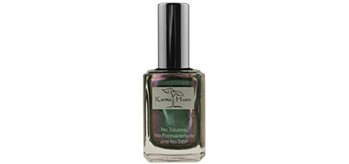 Karma Hues Organic Nail Polish - Dark Metallic Green Vegan Nail Polish