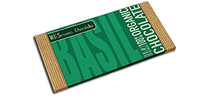 Sremos Chocolates Herby Dark Chocolate - Decadant Healthy Basil Flavored Dark Chocolate Bar