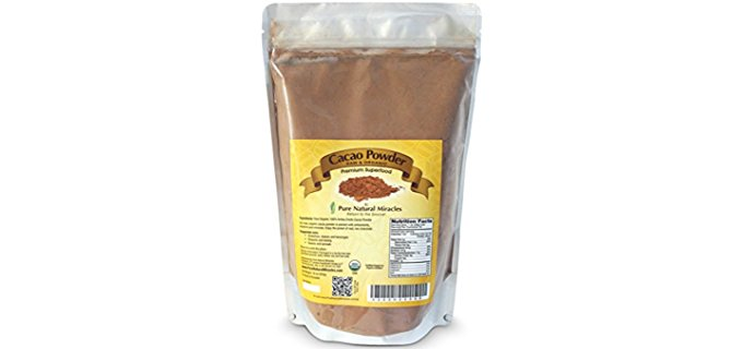 Pure Natural Miracles 100% Cacao Powder - Raw Organic Dark Chocolate Cacao Powder
