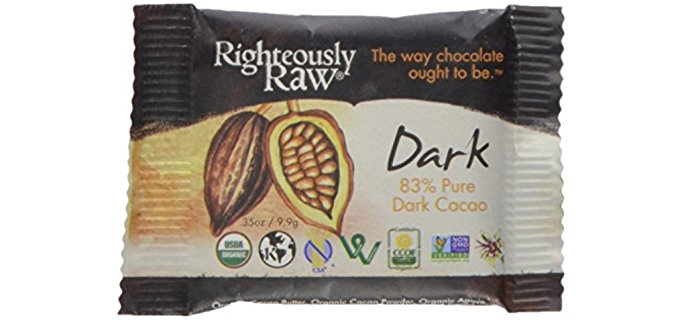 Righteously Raw Chocolates Dark Chocolate Bites - 83% Intense Dark Chocolate Mini Bars