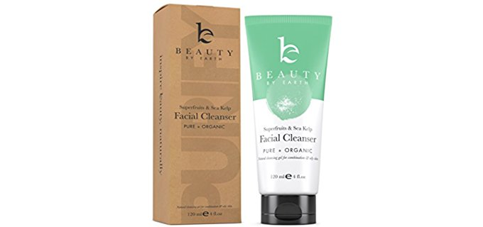 Beauty By Earth Organic Facial Cleanser - Natural Face Wash for Sensitive Acne Skin