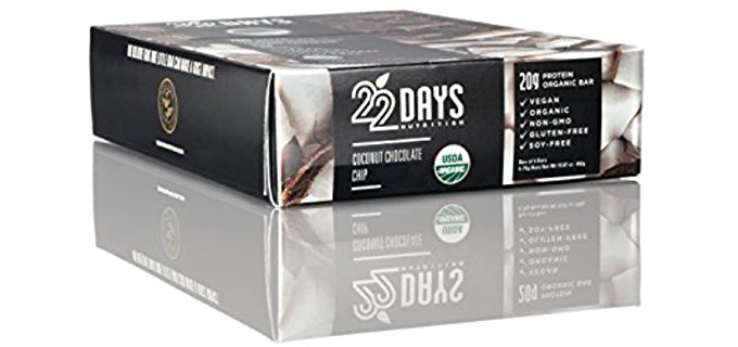 22 Days Organic Protein Bars - Organic Vegan Chocolate Coconut Protein Bars