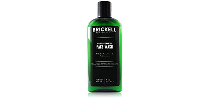 Brickell Men's Products Facial Wash - Purifying Charcoal Infused Organic Facial Wash