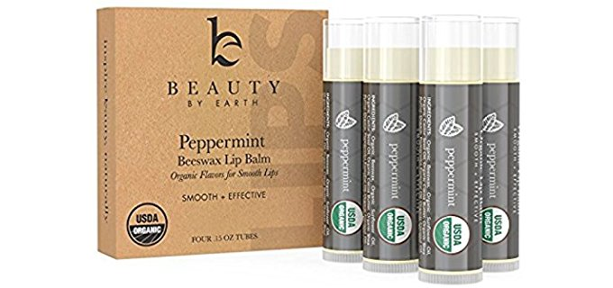 Beauty By Earth Organic Lip Balm - Nourishing Organic Peppermint Lip Balm