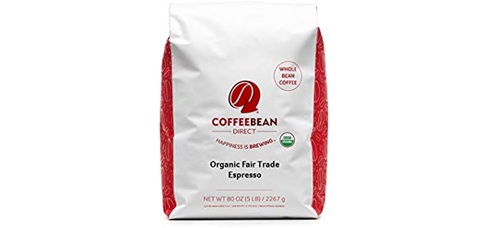 Coffee Bean Direct Organic Fair Trade Espresso - Whole Bean Coffee