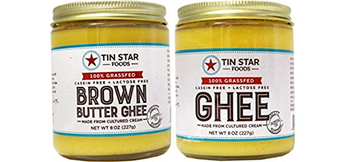 Tin Star Foods 100% Grass-fed - Cultured Brown Butter Ghee & Cultured Ghee