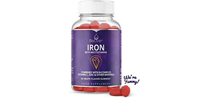 BeLive Vegan - Grape-flavored Iron Gummies