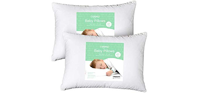 Celeep Organic Toddler Pillow - Cluster Fiber Fill Pillow for Toddlers