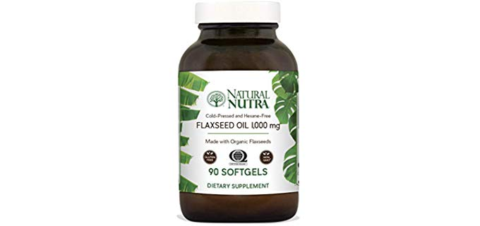 Natural Nutra Organic Flaxseed Oil Softgels - Omega 3 6 9, Fatty Acids Organic Supplement
