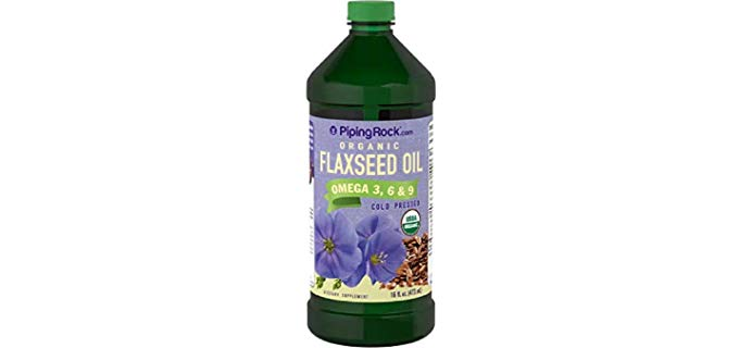 Piping Rock Organic Flaxseed Oil - Organic Omega 3, 6 & 9 Cold Pressed