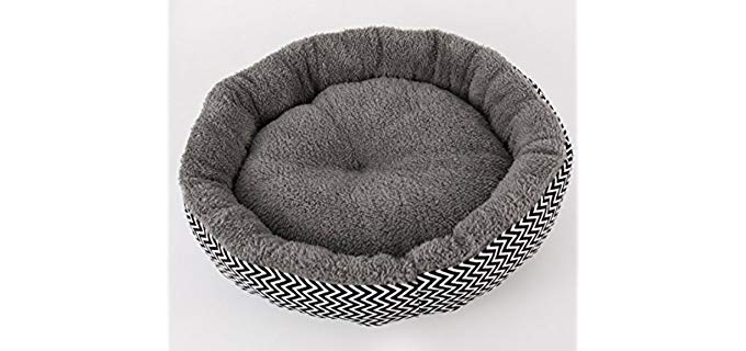 IPETJOY Pet Round Bed for Cats & Dogs - With Plush Sherba Lining
