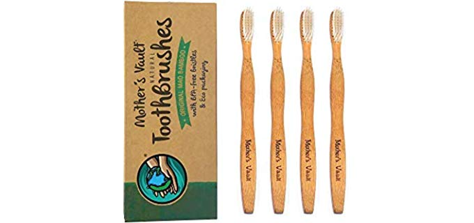Mother's Vault Natural Bamboo Toothbrush - With Medium/Soft BPA-Free Nylon Bristles