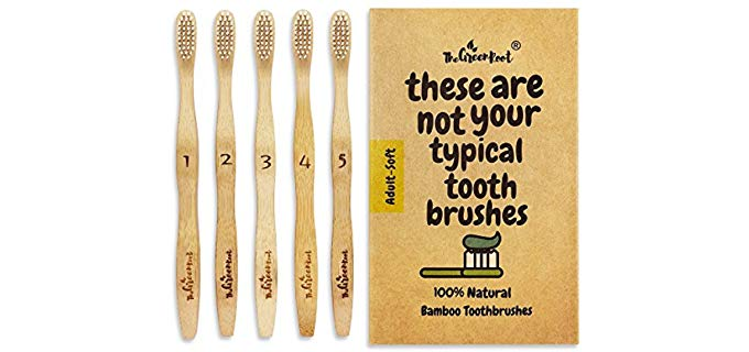 The Green Root Natural Classic Bamboo Toothbrushes - Bamboo toothbrushes with Soft Bio-Based Nylon Bristles