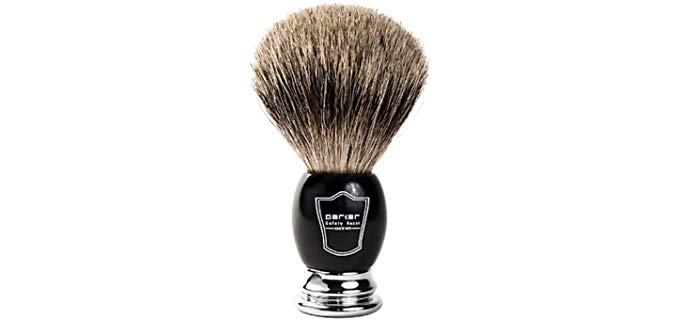 Parker Safety Razor Long Loft - Band Pure Badger Shaving Brush with Black & Chrome Handle