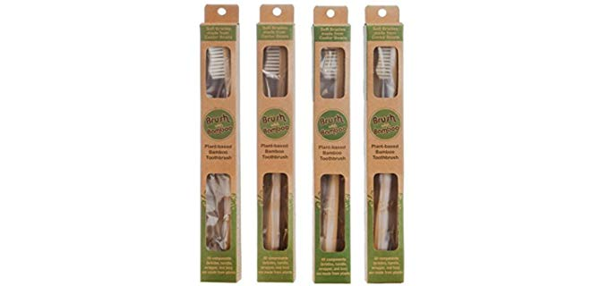 Brush with Bamboo Bamboo Toothbrush - Plant-Based Adult size Toothbrush
