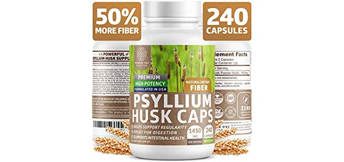 Number One Nutrition Psyllium Husk Capsules - Powerful Soluble Fiber