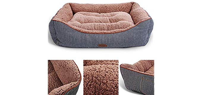 Smiling Paws Pets Dog and Cat Lounge Bed - Washable Bed with Soft Sides