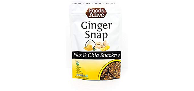 Foods Alive Ginger Snap - Organic Flax and Chia Crackers