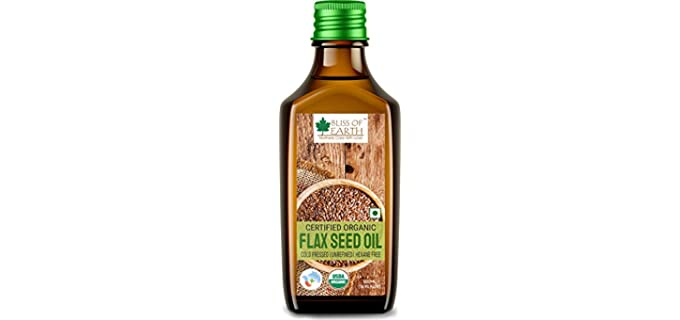 BLISS OF EARTH Cold-pressed - Certified Organic Flaxseed Oil