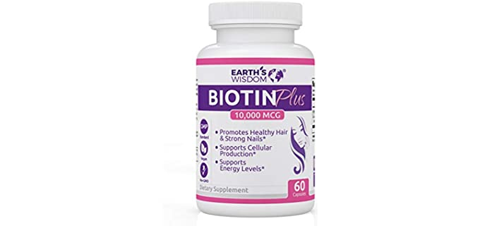 Earth's Wisdom Vegetarian - 10000mcg Biotin Supplement