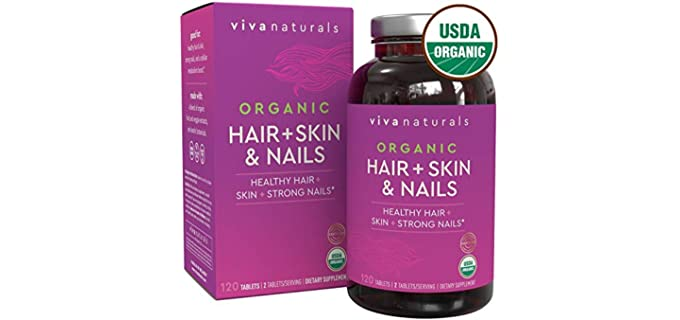 Viva Naturals 120 Tabs - USDA Organic Biotin Supplement