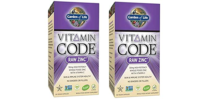 Garden of Life Raw Zinc Vitamin  - Raw Zinc Supplement with Vitamin C